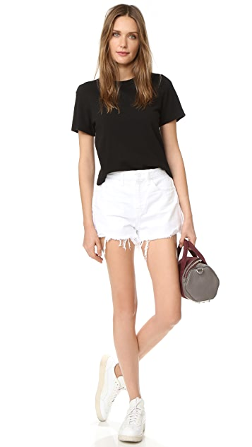 Denim x  Alexander Wang Bite White Scratch Shorts