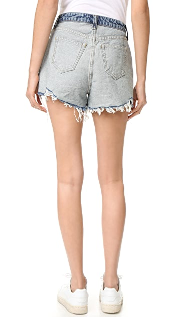 Denim x  Alexander Wang Bite Light Indigo Flip Shorts