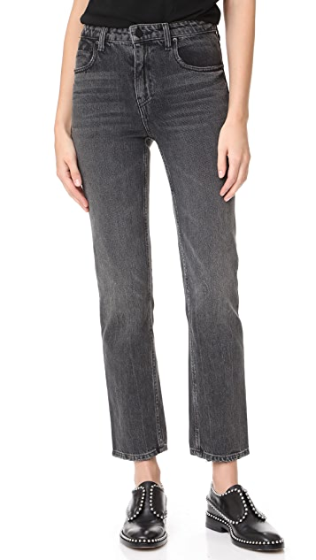 Denim x Alexander Wang Cult Cropped Straight Grey Aged Jeans ...