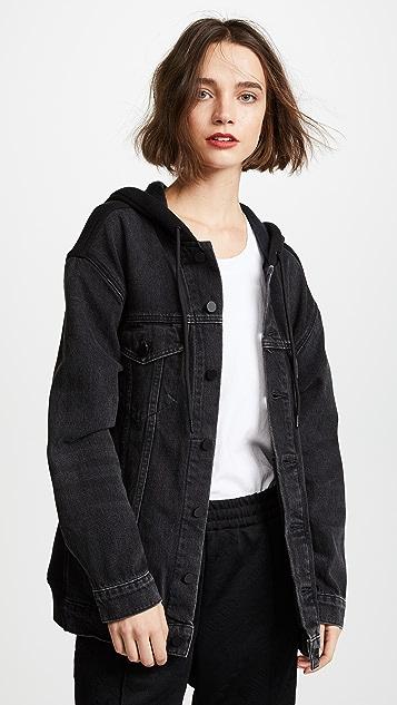 Denim x  Alexander Wang Daze Mix Grey Jean Jacket Aged with Black