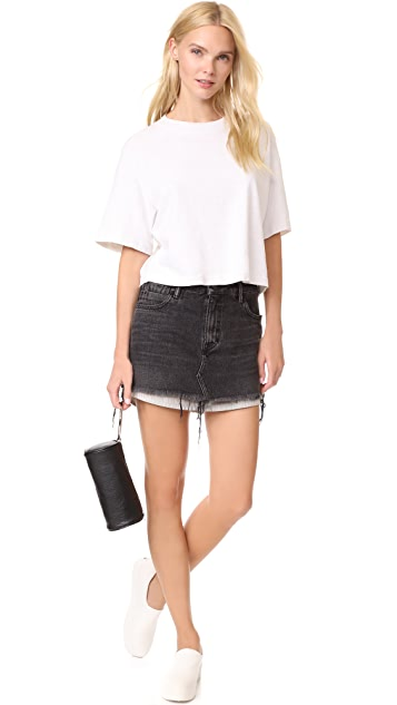 Denim x  Alexander Wang High Rise Skirt with Shirttail Hem
