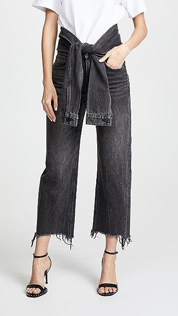 Denim x  Alexander Wang Stack Tie Crop Jeans