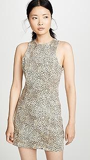 Denim x  Alexander Wang 微型豹纹直筒连衣裙