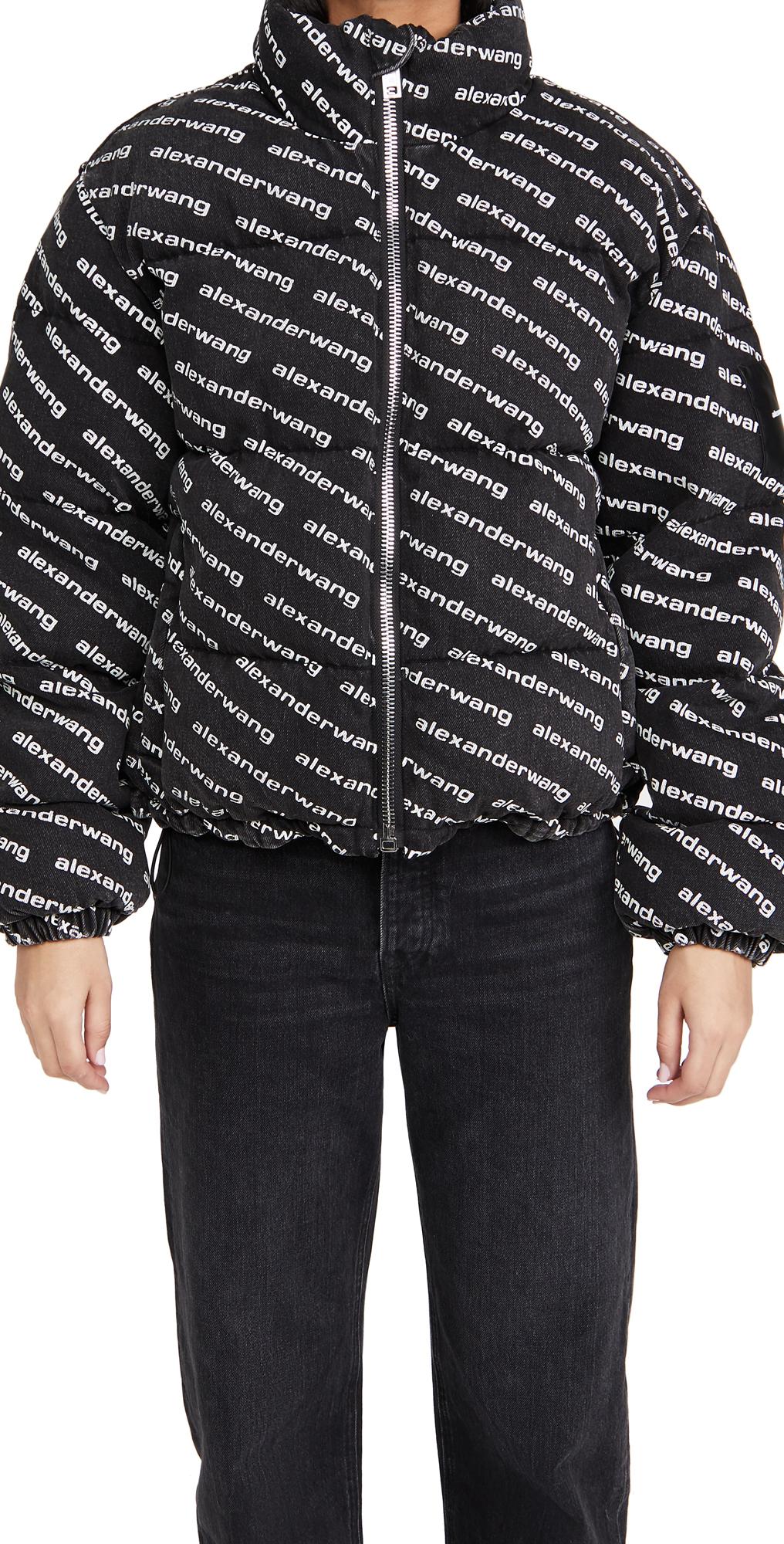Denim x Alexander Wang Grey Aged with Logo Print Puffer Jacket