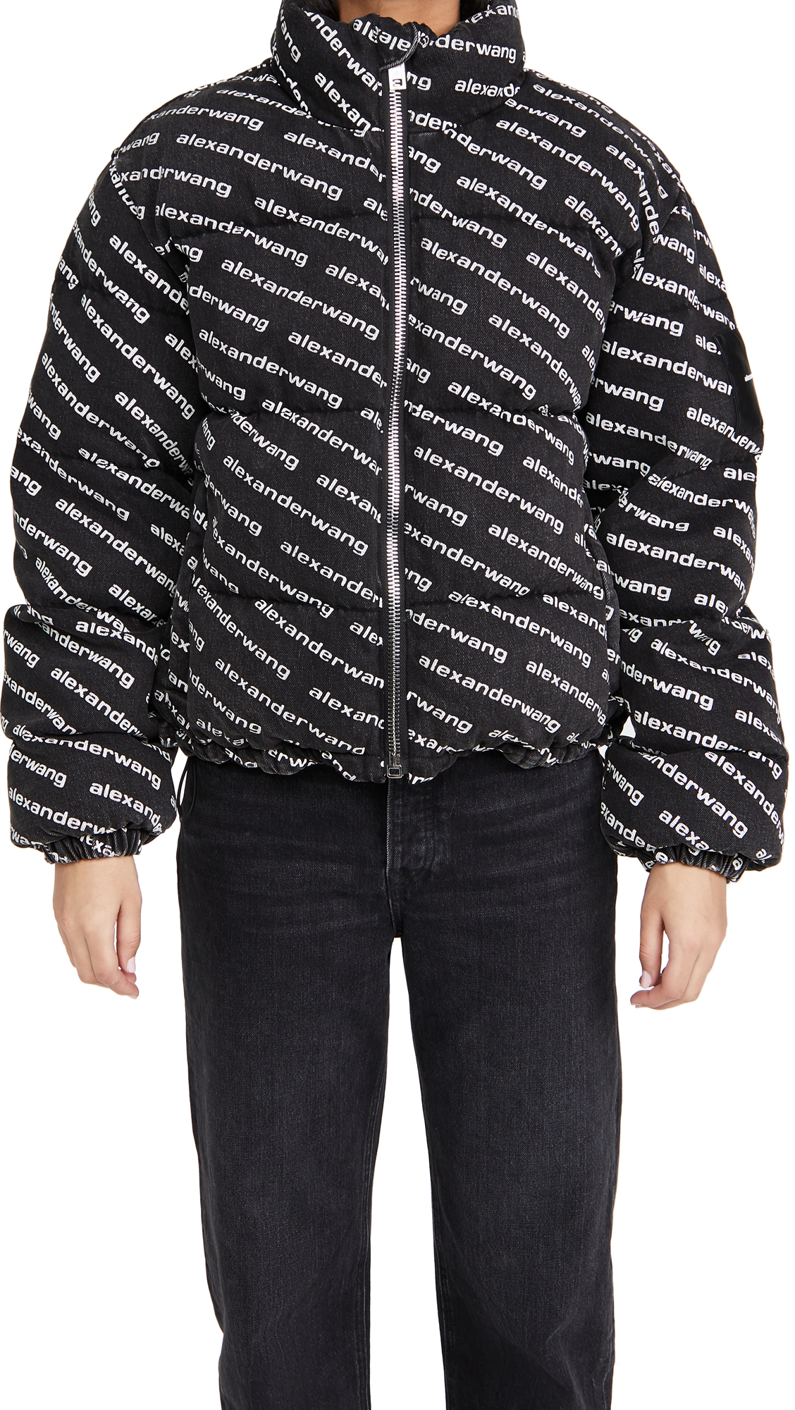 Denim x Alexander Wang Grey Aged with Logo Print Puffer Jacket