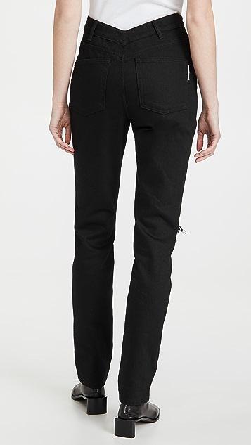 Denim x  Alexander Wang 背面垂坠式高腰牛仔裤
