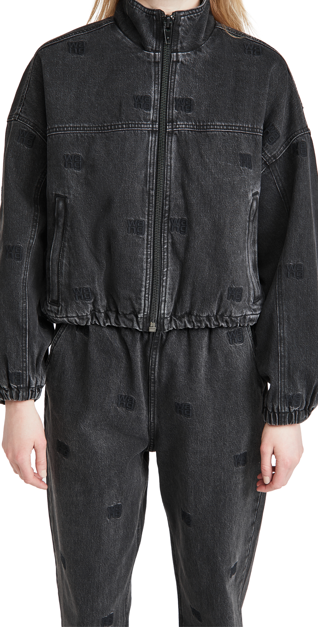 Denim x Alexander Wang Denim Track Jacket with Tonal Emblems