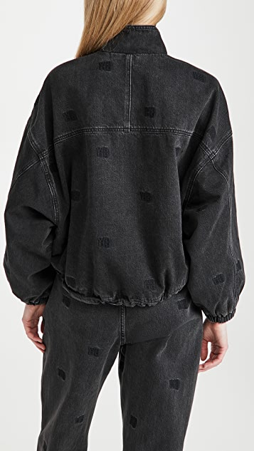 Denim x  Alexander Wang Denim Track Jacket with Tonal Emblems