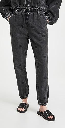 Denim x  Alexander Wang - 同色调标志灰色做旧慢跑长裤