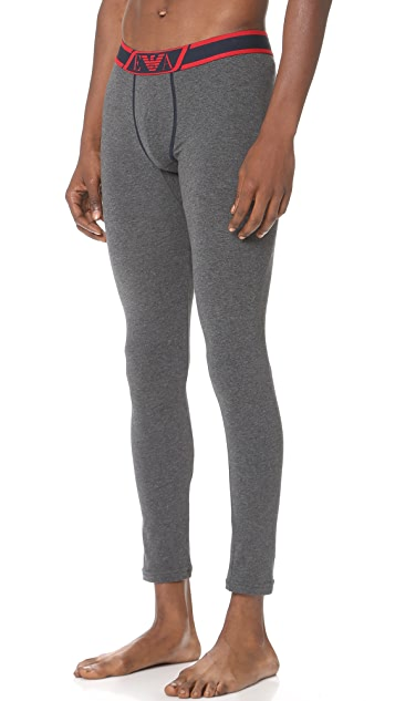 Emporio Armani Striped Logo Band Stretch Cotton Leggings