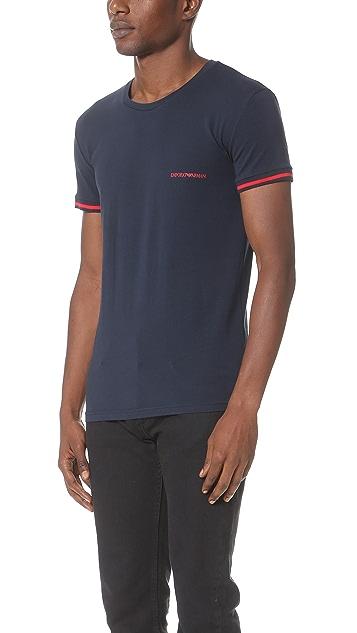 Emporio Armani Striped Logo Band Stretch Cotton T-Shirt