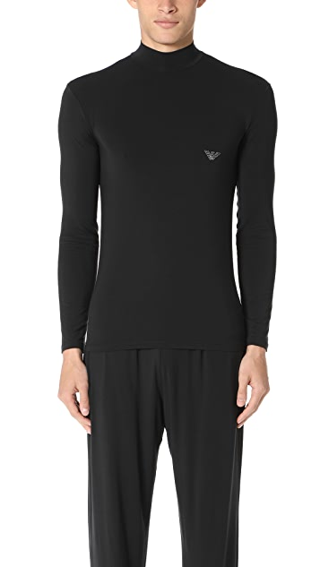 Emporio Armani Soft Modal Long Sleeve Mock Neck Tee