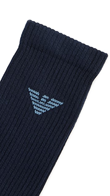 Emporio Armani 2 Pack Athletic Solid Socks