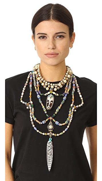 Erickson Beamon Imitation Pearl Safari Bib Necklace