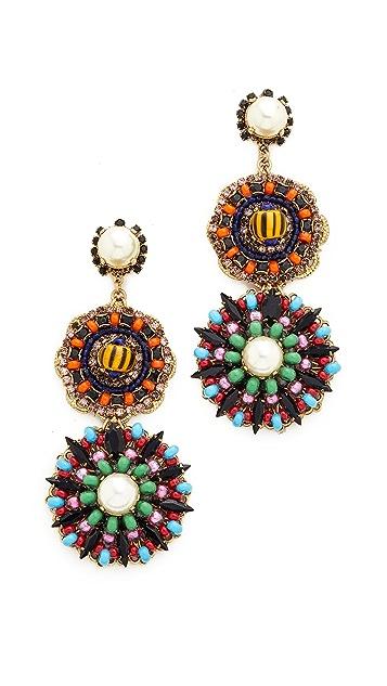 Erickson Beamon Imitation Pearl Safari Disc Earrings