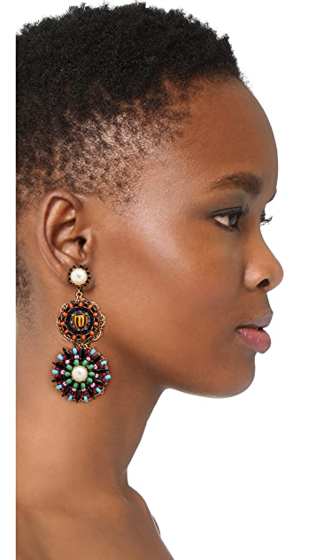 Erickson Beamon Imitation Pearl Safari Disc Earrings