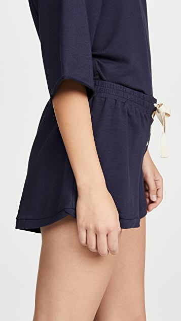 Eberjey Mason Lace Up Shorts