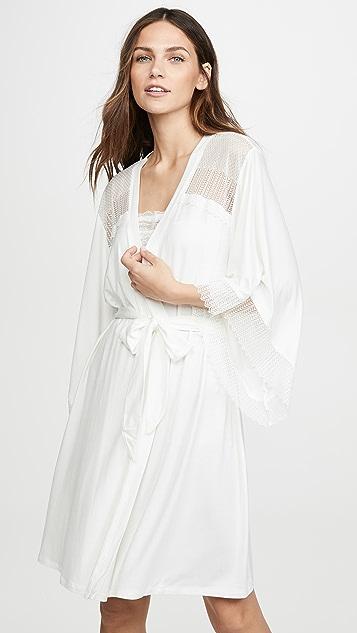 Eberjey Халат в стиле кимоно со вставками Phoebe