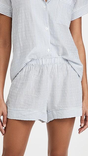 Eberjey Nautico Stripes Woven Shorts PJ Set