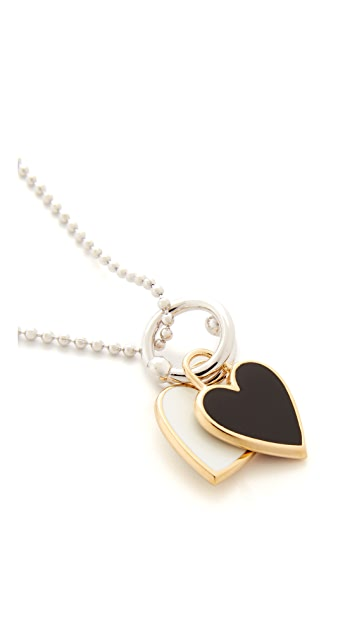 Eddie Borgo Double Heart Charm Pendant Necklace