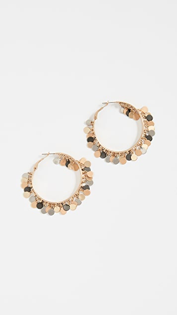 Eddie Borgo Paillette Tambourine Hoop Earrings