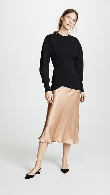 Esteban Cortazar Capri Knit Contrast Circle Bomber Dress - Black
