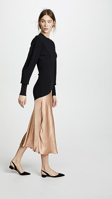 Esteban Cortazar Capri Knit Contrast Circle Bomber Dress