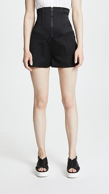 Esteban Cortazar Satin Cady Corset Shorts