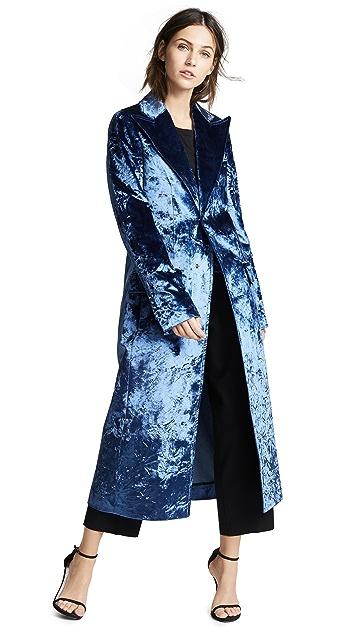 Esteban Cortazar Бархатное идеально скроенное пальто с драпировкой
