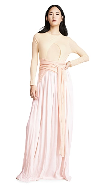 Esteban Cortazar Belted Open Back Gown