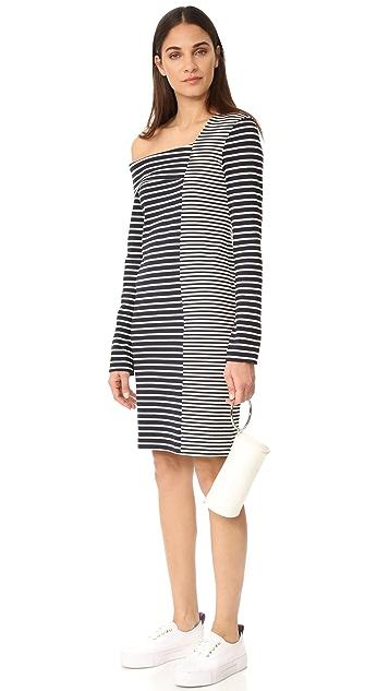 Edition10 One Shoulder Striped Dress