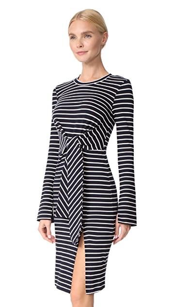 Edition10 Striped Dress with Knot