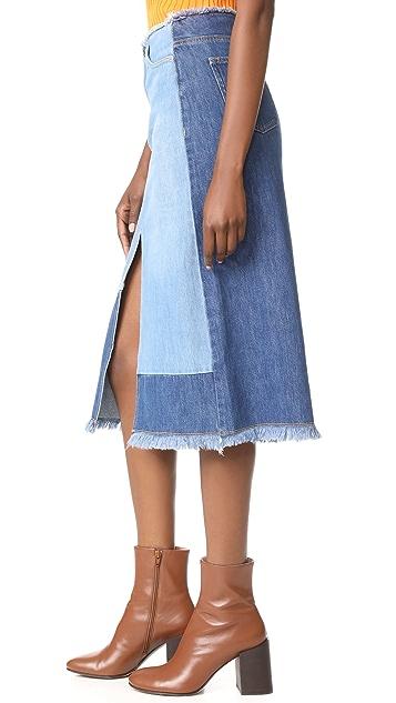Edition10 Colorblock Denim Skirt