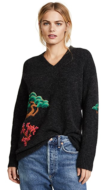 Edition10 V Neck Sweater with Embroidery