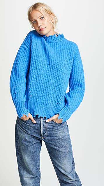 Edition10 Raw Edged Lantern Sleeved Sweater
