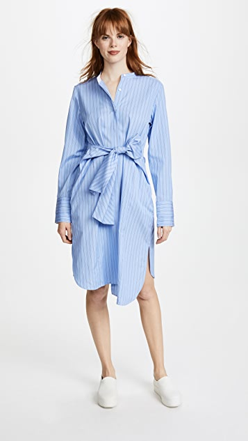 Edition10 Striped Stand Collared Shirtdress