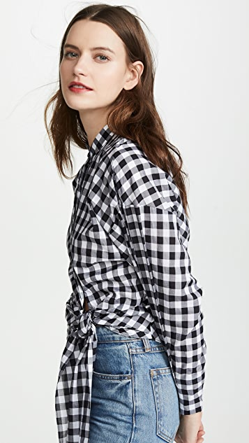 Edition10 Рубашка с завязкой на талии в клетку гингем