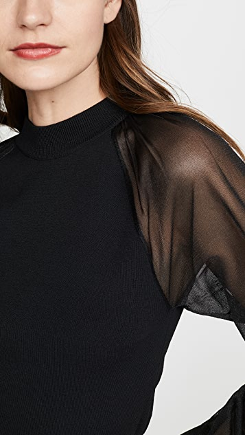 Edition10 Sheer Sleeve Knit Top