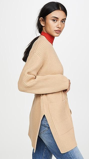 Edition10 束带开襟羊毛衫