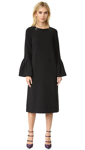 EDIT Long Flute Sleeve  Midi Dress