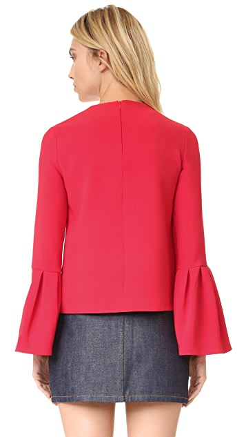 EDIT Top with Flute Sleeve Frill