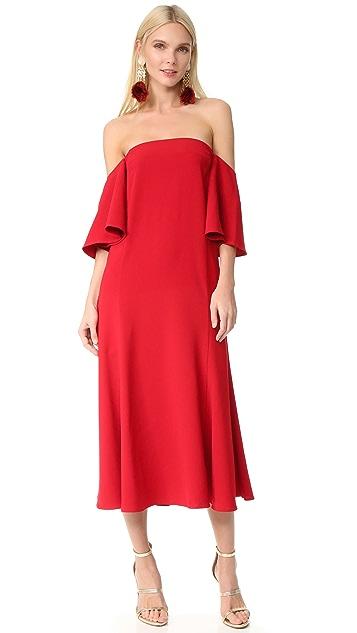 EDIT Off Shoulder Flute Sleeve Dress