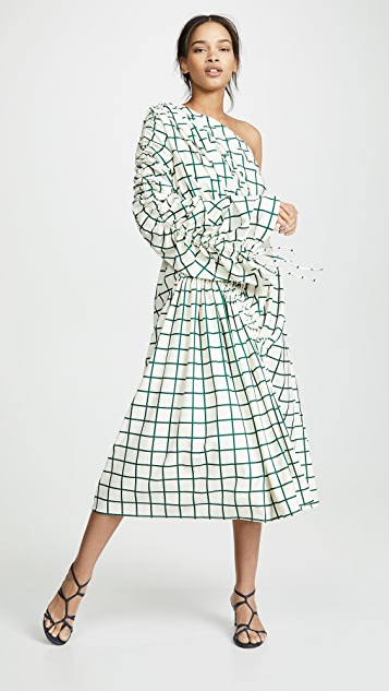 EDIT Gathered One Shoulder Dress