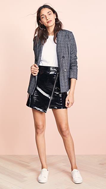 ei8htdreams Asymmetric Zip Front Patent Skirt
