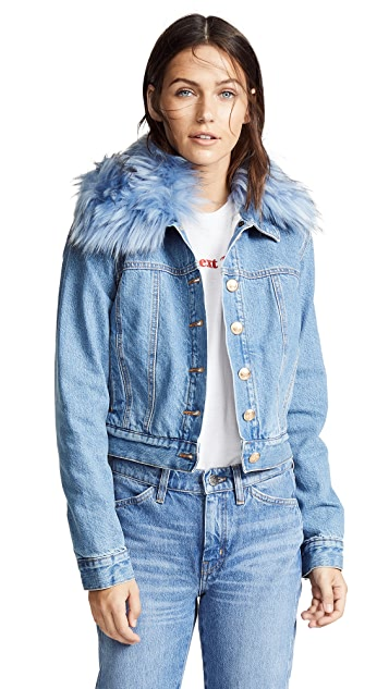 ei8htdreams Shearling Lined Cropped Denim Jacket with Removable Collar