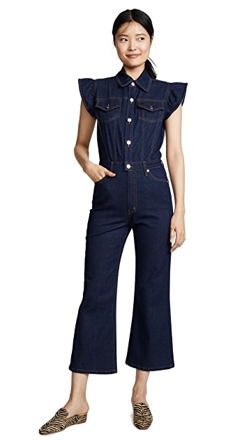 ei8htdreams Madison Frill Sleeve Denim Jumpsuit
