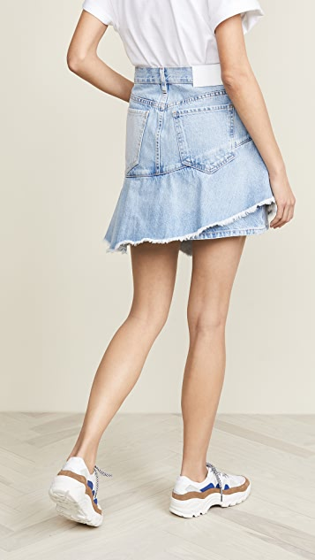 ei8htdreams Asymmetrical Ruffle Denim Skirt