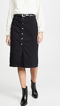 Button Front Pencil Midi Skirt