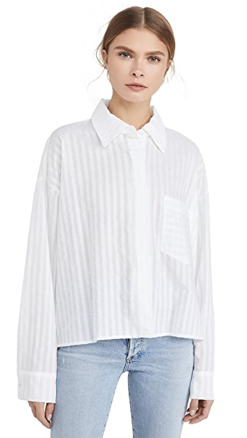 ei8htdreams Alicia Sheer Stripe Oversized Crop Shirt