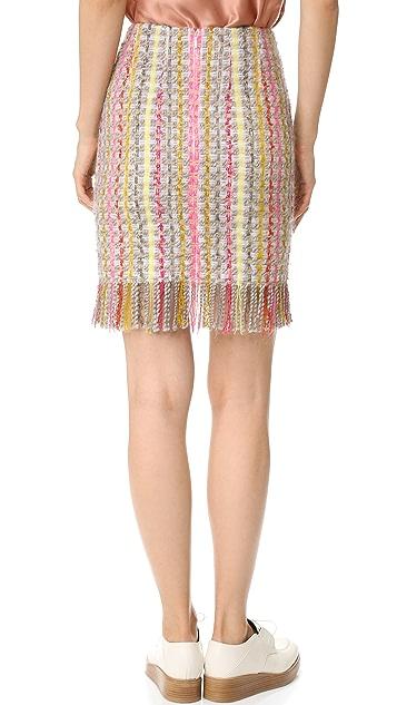 EDUN Tweed Fringe Skirt